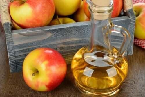 Een fles appelazijn en appels