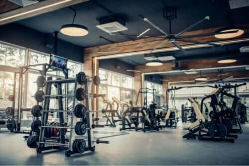 Gewichten in een sportschool