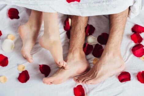 Voeten en bloemblaadjes in bed