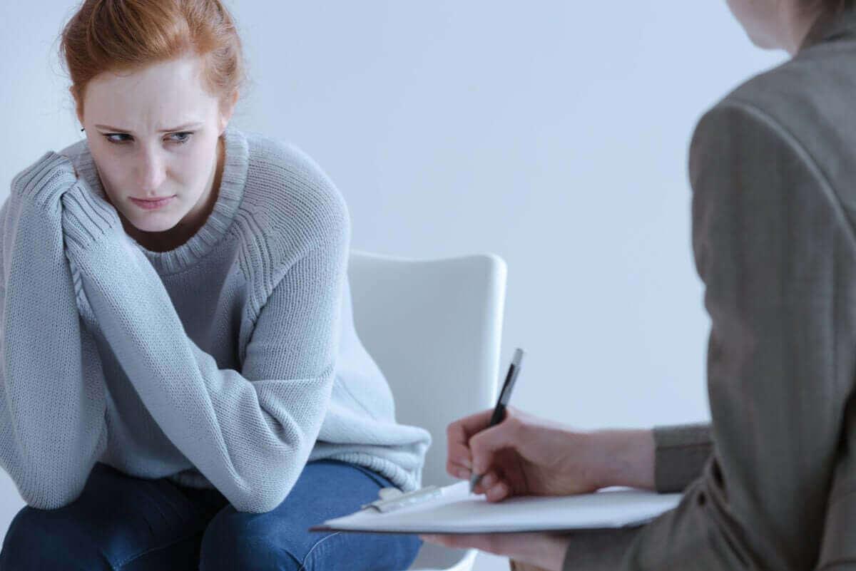 Vrouw bij een psycholoog