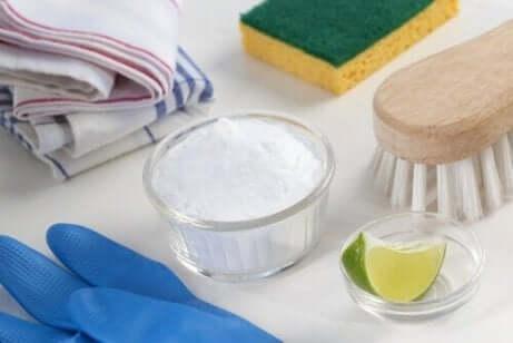 Kommetjes zuiveringszout en limoen