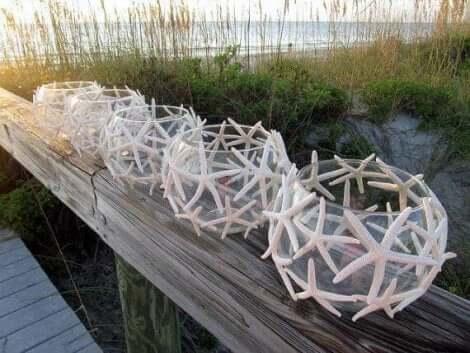 Decoratieve lantaarns gemaakt van vissenkommen