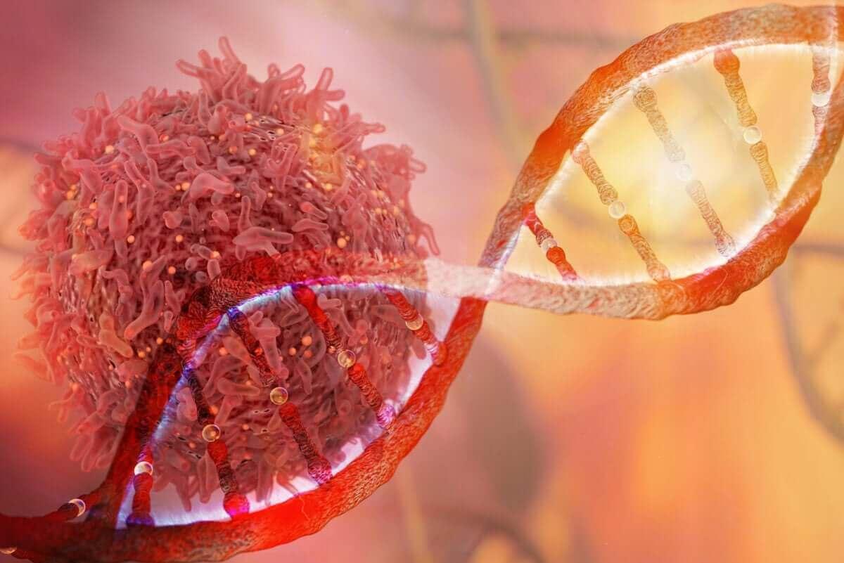 Een DNA-streng en een kankercel