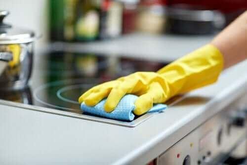 Handschoen en schoonmaakdoekje