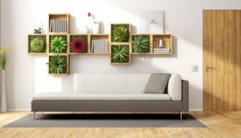 Kamerplanten op een plank aan de muur