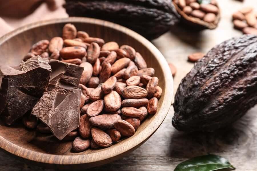 Cacaobonen en chocolaatjes