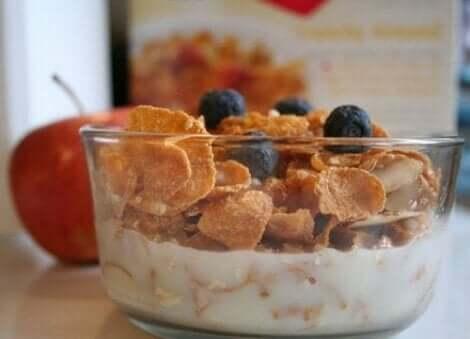 Een kom ontbijtgranen en yoghurt