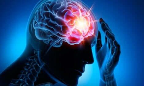 Een dwarsdoorsnede van het hoofd met oplichtende hersenen