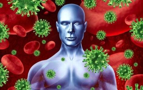 Een tekening van een persoon met bloedcellen en virussen om hem heen