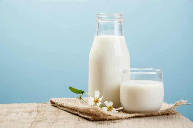 Fles en glas melk