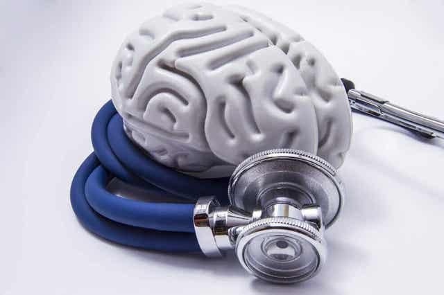 Een stethoscoop ligt om kunststof hersenen heen