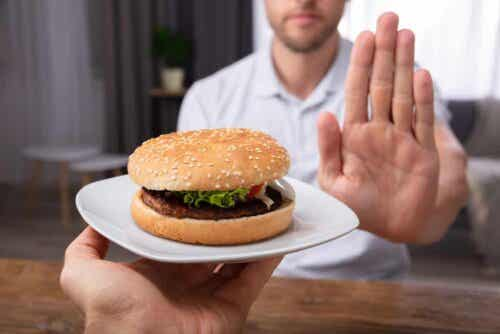Man zegt nee tegen hamburger