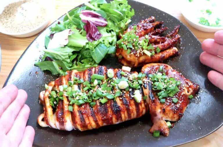 Recept voor gegrilde inktvis met knoflook en peterselie