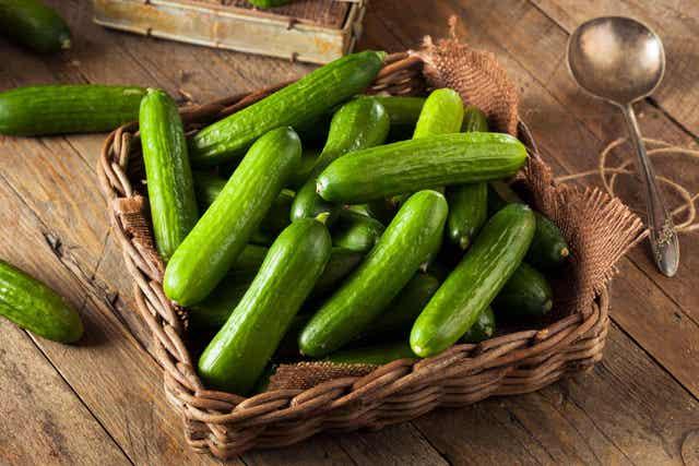 Mand met komkommers